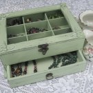 "Light Green ""Shabby Chic"" Wooden Jewelry Box"