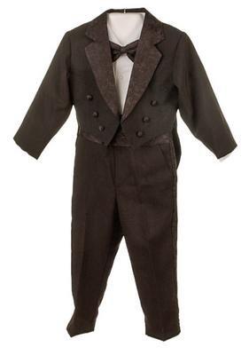 Silver Suit Newborn Infant Boy's Black Tuxedo