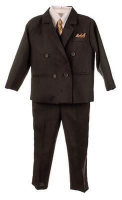 Silver Suit Infant Toddler Boy's DB 3 piece Black Suit with Shirt & Tie