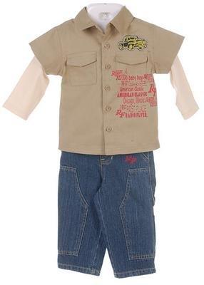 Radio Flyer Infant Boy's 2 piece Double Sleeve Shirt Pant Set