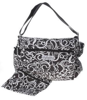 Toddot Black & White Messenger Diaper Bag