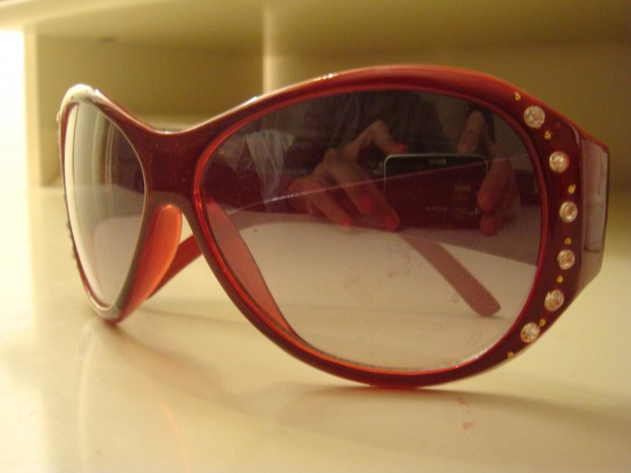 New Bejeweled Red Frame Sunglasses