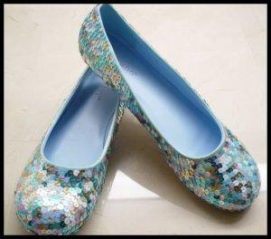 Blue Multi-Color Sequined Ballet Flats Shoes 7