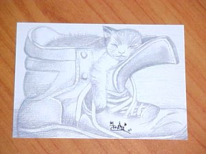 """ACEO- Trading Card """"Cat in a Boot"""""""