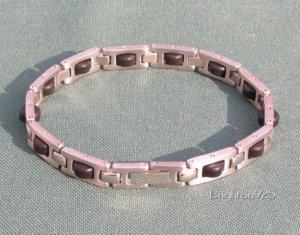 Unisex Stainless Steel & Rubber Bracelet 8�
