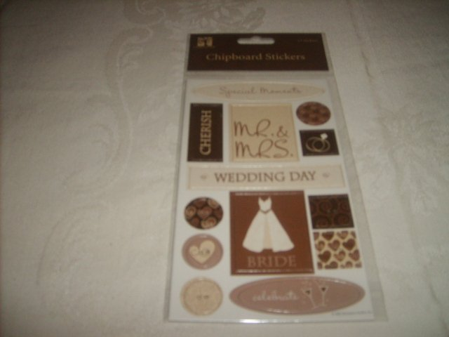 CHOCOLATE WEDDING CHIPBOARD STICKERS