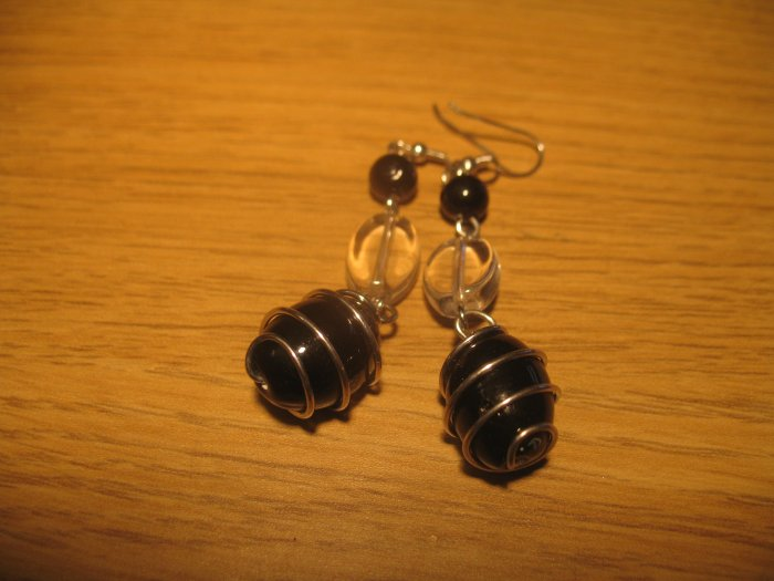 Black and clear glass bead earrings