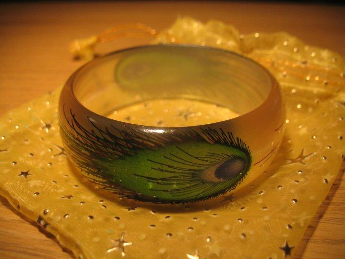 Handpainted Peacock Feather motif acrylic bangle