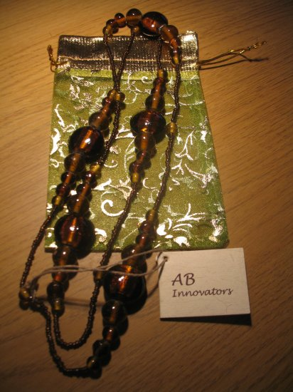 Amber tone glass bead long necklace