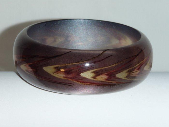 Brown handpainted wheat motif resin bangle