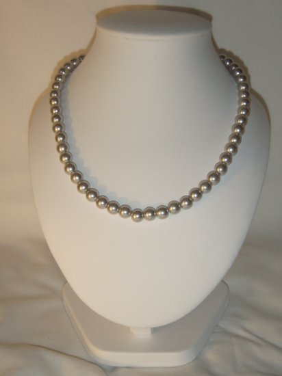 String of silver faux pearls