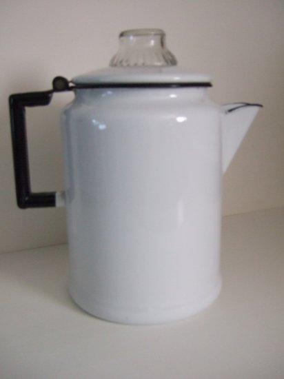 Vintage Large White Coffee Pot