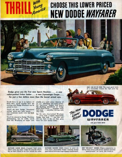 Vintage 1949 Dodge Wayfarer Advertisment