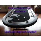 NEW BLACK RACE TRACK TEXAS HOLDEM POKER TABLE, STAINLESS HOLDERS