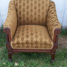 Walnut Eastlake Armchair/Chair--gold print chenile
