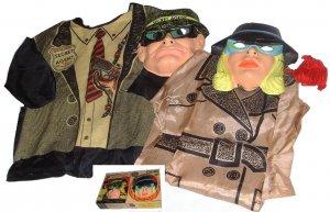 VINTAGE secret agent SPY box COUPLES mask couple COSTUME costumes LOT