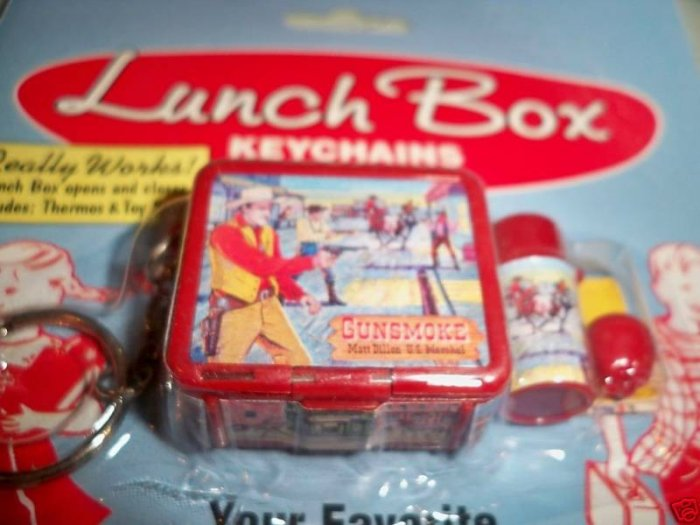 GUNSMOKE vintage replica LUNCH BOX thermos KEY CHAIN