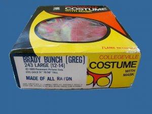 RARER than rare VINTAGE mask 'GREG' the BRADY BUNCH large COSTUME with BOX