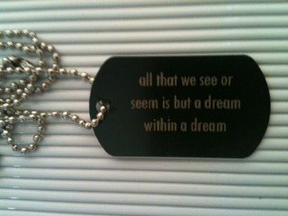 all that we see or seem is but a dream within a black metal tone dog tag necklace chain lot of 10