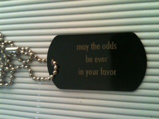may the odds be ever in your favor black metal tone dog tag necklace lot of 10