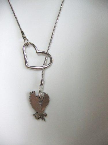 i open heart love wicked winged wing flying monkeys monkey silver tone charm lariat style necklace