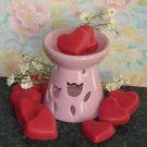 CANDLE GIFT SET - 12 Heart Shaped Soy Melties & Tart Burner Combo