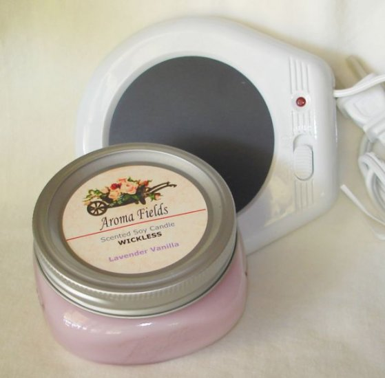 CANDLE GIFT SET - Highly Scented Wickless Soy Candle & Warming Plate
