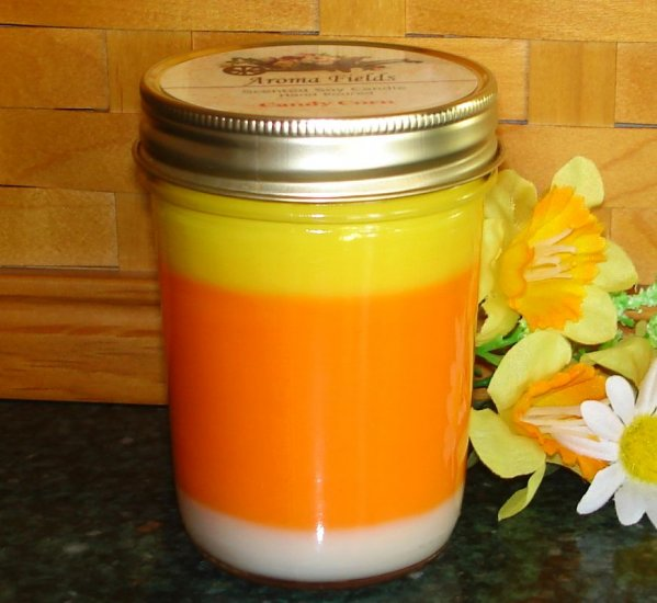 Candy Corn Highly Scented Soy Layered Candle