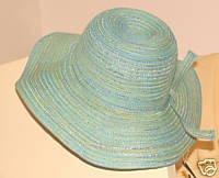 Ladies Wide Brimmed Straw Hat: Aqua & Silver Threads