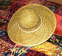 "Ladies Wide Brimmed (4"") Natural Straw Hat"