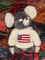 Gray Plush 12 Inch Patriotic Mouse