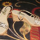 Ladies Sandals Size 7 med. with Silver & Gold Straps