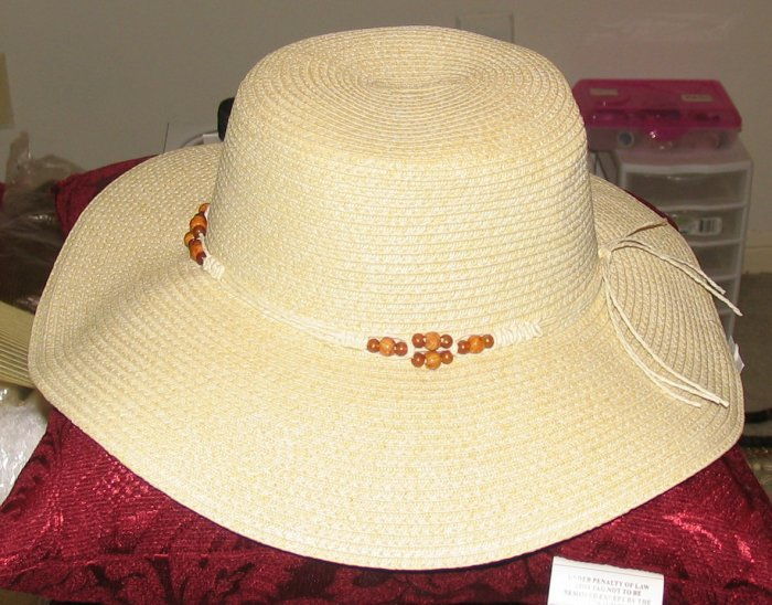 Stylish Ladies'  Wheat Colored Natural Straw Hat