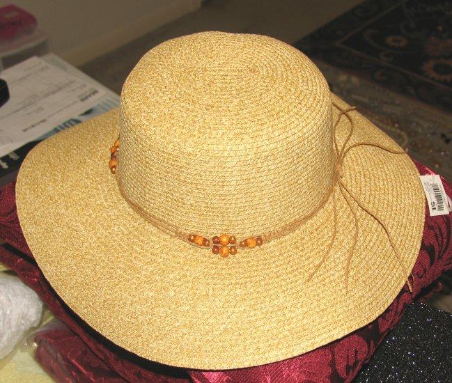 Ladies Wide Brimmed Tan Natural Straw Hat