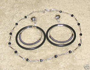 Vintage Costume Jewelry Silver/Bead Necklace & Earrings