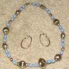 Vintage '80's Costume Jewelry Blue & Silver Necklace & Earrings