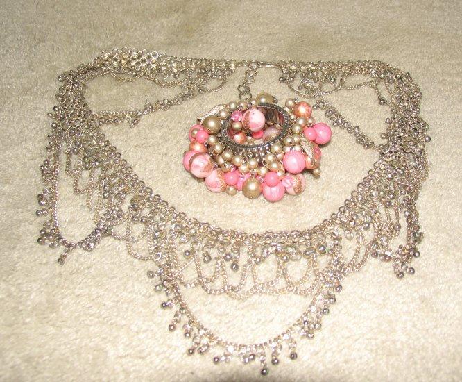 Silvertone & Pink Bead Belly Dancing Hip Jewelry & Matching Bracelet..