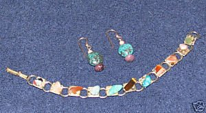 Vintage Costume Jewelry Faux Turquoise & Bead Bracelet with Matching Earrings