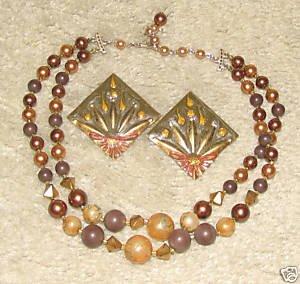 Vintage Unique Costume Jewelry Gold & Bronze tone Necklace & Earrings