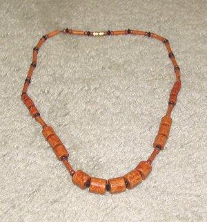 Vintage Costume Jewelry Wood Bead Necklace