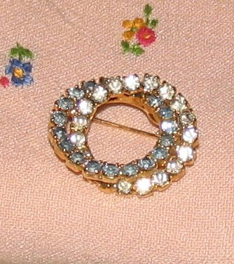 Vintage Costume Jewelry Rhinestone Double Circle Pin