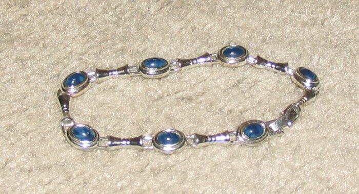 Vintage Costume Jewelry Silvertone & Blue Bead Bracelet
