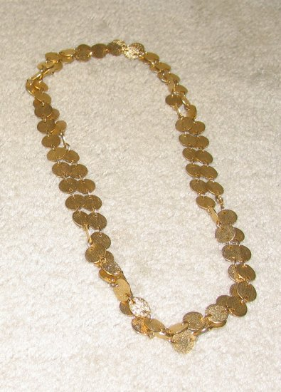 Vintage Costume Jewelry Long Double Strand Goldtone Coin Necklace