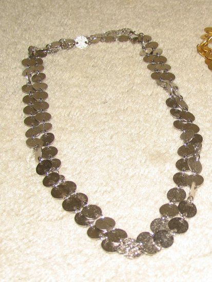 Vintage Costume Jewelry Long Double Strand Silvertone Coin Necklace