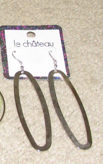Costume Jewelry Goldtone Le Chateau Elongated Hoop Earrings for Pierced Ears