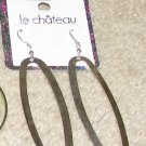 Costume Jewelry Goldtone Le Chateau Elongated Hoop Earrings for Pierced Ears