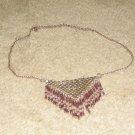 Vintage Costume Jewelry Silvertone Chain Choker with Unique Front Piece in Silvertone & Brasstone