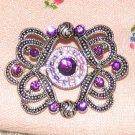 Vintage Costume Jewelry Silverttone & Faux Ruby Pin