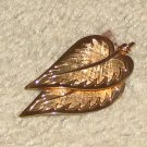 """Vintage Costume Jewelry Goldtone 2 1/2"""" Double Leaf Pin"""