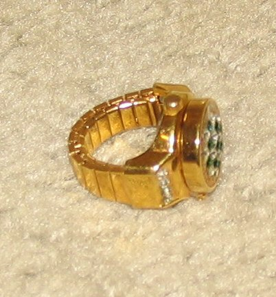 Vintage Costume Jewelry Goldtone & Rhinestone Watch Ring